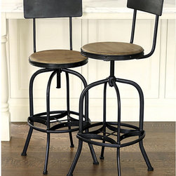 Ballard Designs - Allen Stool with Back Rest - Seat has a distressed pecan finish. Sturdy metal distressed dark gray frame. No assembly required. Stool also comes in backless version. No assembly required. The iconic industrial design of Allen Stool is based on a drafting stool from the early 1900s. And like the original, ours has small imperfections that enhance its vintage charm. Nicely curved back tilts for extra comfort. Swiveling mango wood seat adjusts in height by a screw mechanism underneath.Allen Stool features: . . . . .