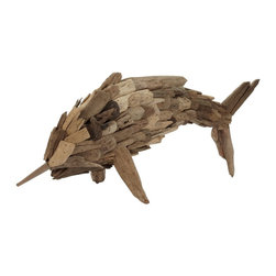 Lazy Susan - Lazy Susan 356018 Driftwood Fry Marlin - Small - Driftwood fascinates and demands collection by the seaside, and this artwork, created from pieces of long lost ocean smoothed wood, makes a marlin! A fabulous fish sculpture to grace your beach house or urban oasis, its unique and outsider art quality will keep you smiling.