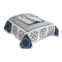 American Traditions - Blue Lighthouse Full/Queen Quilt - Classic light house and ocean theme in 100% cotton. The deck is a large pieced light house design with a blue background. The drop is a repeat of blue shades in a country star design. The navy blue, sky blue and white accents make this the perfect vacation home Quilt.