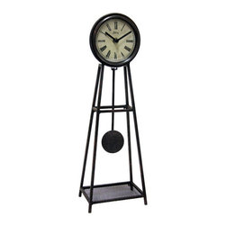 Infinity Instruments - The Sage Wall Clock with Working Pendulum - - Wrought Iron table clock with working pendulum. Off white dial with Roman numerals at every hour. Black metal hands.   - Batteries required:1 AA  - One year manufacturers' warranty. See individual box for details. Infinity Instruments - 11733