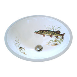 Decorated Porcelain Company - Muskie Lodge Design Hand Painted Sink - Redoing a lake house, fishing lodge or cabin? Add something special to the bathroom with this beautifully painted fish in shades of brown, green and deep maroon swimming amongst seaweed and shells. Shown on a white center drain under mount sink. All of our fixtures are hand-made to order in the USA and kiln-fired for long-lasting durability.