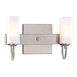 "George Kovacs - George Kovacs Nickel 10"" Wide ADA Bathroom Light - This two-light bathroom fixture from George Kovacs has a clean crisp look and contemporary appeal. The sleek backplate and contoured arms feature a lustrous brushed nickel finish. Case etched opal glass offers warm light for your surroundings. Brushed nickel finish. Case etched opal glass. ADA compliant. Includes two 40 watt G9 xenon bulbs. 10"" wide. 6"" high. Extends 2 1/2"" from the wall.  Brushed nickel finish.   Case etched opal glass.   ADA compliant.   A George Kovacs lighting design.  Includes two 40 watt G9 xenon bulbs.   10"" wide.   6"" high.   Extends 2 1/2"" from the wall."