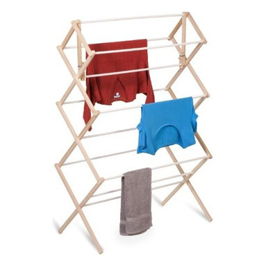 """Honey Can Do - Heavy-Duty Wood Drying Rack - The accordion-style body has coated rods to prevent snagging and slipping with a smart center bar that's great for air-drying longer items. Measuring 41""""H x 14''W x 29""""D, this simple but sturdy drying rack offers a tremendous value in natural clothes drying. Unlike a wall-mounted unit, this portable rack can be used anywhere including the laundry room, balcony, bathroom, or kitchen and folds down to 2"""" flat for easy storing. Save on energy costs while protecting the environment and increasing the life of your garments."""