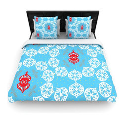 """Kess InHouse - Miranda Mol """"Frosted White"""" Blue Holiday Fleece Duvet Cover (King, 104"""" x 88"""") - You can curate your bedroom and turn your down comforter, UP! You're about to dream and WAKE in color with this uber stylish focal point of your bedroom with this duvet cover! Crafted at the click of your mouse, this duvet cover is not only personal and inspiring but super soft. Created out of microfiber material that is delectable, our duvets are ultra comfortable and beyond soft. Get up on the right side of the bed, or the left, this duvet cover will look good from every angle."""