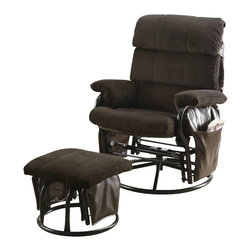 Monarch Specialties - Monarch Specialties I 7284 Chocolate Corduroy / Pu Swivel Rocker Recliner w/ Ott - Seat yourself in unsurpassed comfort and style with this deep chocolate colored recliner chair and matching ottoman. Upholstered in generously padded cushions, padded pillow top armrests, and side pockets useful for magazines, combine for a comfortable and multi-purpose chair. Accent stitching accentuates the corduroy for a tailored finish. Gently rock a sleeping baby or put your feet up and relax after a long day. The tension knob allows you to control the back pitch for relaxing at just the right angle. Rocker Recliner (1), Ottoman (1)