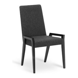 Bryght - Melvie Liquorice Fabric Upholstered Ebony Dining Chair - Add a fun twist to a modern or a traditional dining table with the Melvie dining chair. Modern clean lines define the stand out leg design. Also available as an armchair.