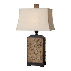 "Uttermost - Uttermost Calvina Lamp 20 x 12 x 34.5"", Burnt Ivory - Metal base finished in a burnt ivory with rustic bronze curled details. The rectangle bell shade is an oatmeal linen fabric with natural slubbing.Designer: Carolyn KinderWattage: 150WDimensions: 20"" depth by 12"" width by 34.5"" heightMaterial: metal/MDF"