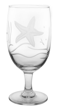 Rolf Glass - Starfish Iced Tea 16oz, Set of 4 - Whether it's black, green or a tropical blend, these iced tea glasses crafted from cut glass hold just enough to quench any thirst. A engraved starfish floating in sea grass adds beach-house appeal.