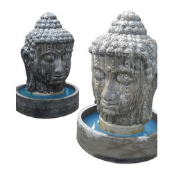 Buddha Head Fountain - 5 Feet Tall - Extreme Buddha Fountain commands attention as a distinctive focal point in the landscape.
