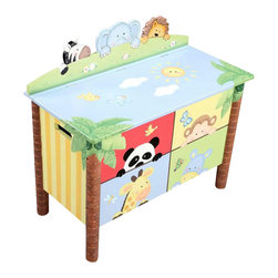 Teamson Design - Teamson Kids Sunny Safari Hand Painted Kids Toy Chest/Box - Teamson Design - Toy Boxes and Chests - W8269A. A New way to store everything around, this toy box has life painted all over. This item will bring light and life to any room!