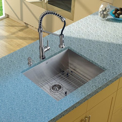 Vigo Industries - Platinum Undermount Kitchen Sink in Satin Finish - Includes stainless steel kitchen sink, stainless steel kitchen faucet, matching grid, strainer and stainless steel soap dispenser and all mounting hardware