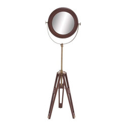 BZBZ24867 - Wood Round Floor Mirror with Extendable Neck - Wood Round Floor Mirror with Extendable Neck. With its classic design, this uniquely crafted wood round mirror will add a touch of elegance and style to your interiors. The dimensions of the wood round floor mirror are 18 x 10 x 58.