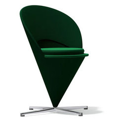 Vitra - Panton Cone Chair, Green Tonus Wool - In the mid-1950's, Verner panton converted a Volkswagen bus into a mobile studio and travelled across Europe. In 1958 he returned to Denmark full of unconventional ideas... one of which evolved into the iconic Heart Cone Chair. Defying gravity, the cone was both futuristic and shocking... so much so that when it was exhibited in a shop window in New York City police had to order its removal due to the traffic chaos its presence created. A comfortable club chair for everyday use, Vitra has faithfully re-issued this classic in close collaboration with the Panton estate. The Heart Cone Chair takes its name from its heart-shaped silhouette.