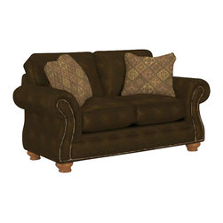 Broyhill - Broyhill Laramie Brown Loveseat with Attic Heirlooms Wood Stain - Broyhill - Loveseats - 50811Q -About This Product: