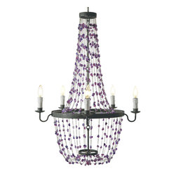 Kathy Kuo Home - Burnett Hollywood Regency Amethyst Purple Crystal Chandelier - Like a prismatic, powerful purple waterfall, crystals overflow from this Hollywood Regency chandelier. Matte black metal, in perfect circles, holds candelabra lights that twinkle and reflect your royal and romantic nature.