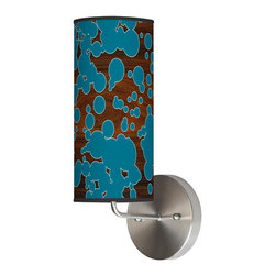 jefdesigns - Fizzy 1 Wall Sconce - Now no one can burst your bubble when it's right there on your wall, reflecting the light through a cool cylindrical shade. The pops of blue against the chocolate wood-grain background add whit and whimsy to your wall, while illuminating everything in the room.