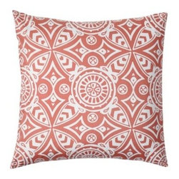 Serena & Lily - Avila Euro Sham - Beachy as can be and so sophisticated, too sunwashed coral is a gorgeous backdrop to our signature medallion print (one of Serena's first original designs). Every curve, every line, every graphic little detail pops in brilliant white.