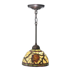 Meyda Tiffany - Meyda Tiffany Pinecone Dome Mini Pendant Light X-092601 - This decorative Meyda Tiffany Pinecone Dome Mini Pendant Light stands out with its natural motif executed on the delicate Tiffany glass shade. The frame comes in a exclusive Mahogany Bronze finish and contains beautifully designed ornaments.