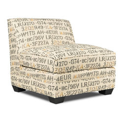 Seabury Armless Accent Chair - An enigmatic arrangement of numbers, letters and symbols adds interest to this armless accent chair. Designed with a wide seat and low back, it's the perfect spot for you to curl up and relax.