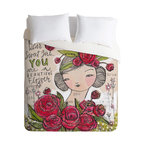 """DENY Designs - Cori Dantini Dear Sweet Girl Twin Duvet Cover - Every girl deserves to rest on a bed of roses. Cori Dantini's whimsical duvet cover print wants to crown you with red blooms of happiness and remind you every day that """"you are a beautiful flower."""" An uplifting and expressive centerpiece, it's a great foundation for crafting your own creative and personal bedroom style."""