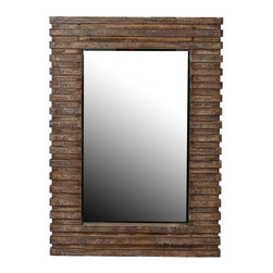 Privilege - Privilege 42.5-inch Brown Reclaimed Wood Wall Mirror - Add a charming touch to your home with this inviting wall mirror,showcasing a contemporary design,and a rectangular shape. This mirror is crafted of glass and reclaimed wood with a brown finish.