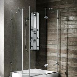 Vigo - VIGO VG6061CHCL42 Neo-Angle Shower - VIGO's exquisite taste and superior quality is reflected in this totally frameless neo-angle shower enclosure