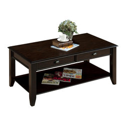 Jofran - Jofran 459-1 Cocktail Table with 2 Drawers and One Shelf in Oak Veneer - Add a casual accent to your living room display with the introduction of this cocktail table. A coffee table designed for laid-back living, this piece will help you to create an atmosphere of casual comfort. This table is constructed from oak veneers with a dark Bartley oak finish that highlights the piece while bringing out the wood grain. Straight lines with subtle bevel details add to the piece with just enough accent while two drawers and one shelf make for convenient storage. Pair this piece with its matching end table for a two piece set.