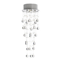 None - Floating Bubble Crystal and Chrome Flush Mount Chandelier - Create elegance in any room with this stunning flush-mount chandelier. The floating bubble crystals will add brilliance to the design, and the base is constructed of iron and steel for added strength. It works well in a foyer or dining room.