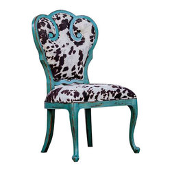 """Uttermost Chahna Velvet Accent Chair - Aqua blue finish on solid, plantation grown mango wood with cushioned seat in plush, dark chocolate and milky white velvet. Aqua blue finish on solid, plantation grown mango wood with cushioned seat in plush, dark chocolate and milky white velvet. Seat height is 19""""."""