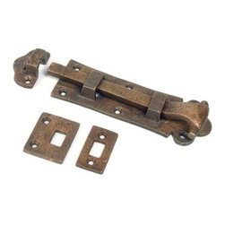 Restorers Flush Surface Bolt - We are pleased to offer a great selection of rustic iron slide bolts in various styles, sizes and finishes that are ideally suited for any application. Matching mounting hardware included. Set comes with three strike plate styles for any mounting application.