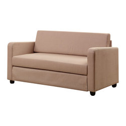 Adarn Inc - New Modern Comfort Convertible Beige Fabric Adjustable Folding Sofa Bed Sleeper - Get the most use out of your living room, family room or home entertainment room with the help of this adjustable sofa bed. This sofa offers comfortable seating as well as the ability to convert the sofa into a bed. The beige fabric completes the modern design. This modern sofa bed will offer endless arrangements, plenty of space for family and friends, and comfortable seating in your home for years to come.