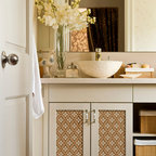 Floral Lattice Stencil - Floral Lattice Wall and furniture Stencil from Royal Design Studio Stencils. This white cottage bathroom has a hand painted fabric treatment on the cabinet doors thanks to this allover stencil design in neutral colors. This stencil can also be used on walls, ceilings and fabric.