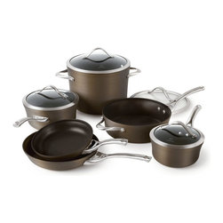 Calphalon - Calphalon Contemporary Nonstick Bronze Anodized 10-Piece Cookware Set - 1876789 - Shop for Cookware Sets from Hayneedle.com! The Calphalon Contemporary Nonstick Bronze Anodized 10-Piece Cookware Set is made with a triple-layer BFOA-free nonstick surface for the best in durability - in fact this cookware is even dishwasher safe. And you ll get it all with this set including an eight-inch fry pan ten-inch fry pan 1.5-quart sauce pan with lid 2.5-quart sauce pan with lid 3-quart saute pan with lid and eight-quart stock pot with lid. And the bronze tone is more than just a surface coating - each pan is made of heavy-gauge even-heating aluminum with a complex process that produces a bronze tone that won t chip crack or peel. Plus the cast stainless steel handles stay cool under the hottest conditions. Oven safe up to 450 degrees Fahrenheit and includes full manufacturer s lifetime warranty. About CalphalonCalphalon's mission is to be the culinary authority in kitchenwares enhancing the home chef's food experience during planning prep cooking baking and serving. Based in Toledo Ohio Calphalon is a leading manufacturer of professional quality cookware cutlery bakeware and kitchen accessories for the home chef. Calphalon is a Newell-Rubbermaid company. Calphalon's goal is to give you the home chef all the tools you need to realize your highest potential in the kitchen. From your holiday roasting pan to your everyday fry pan count on Calphalon to be your culinary partner - day in and day out for breakfast lunch and dinner for a lifetime.