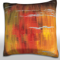 Custom Photo Factory - Autumn Trees Reflected in Pond Pillow  Polyester Velour Throw Pillow - Autumn Trees Reflected in Pond Pillow 18 Inches x 18  Inches.  Made in Los Angeles, CA, Set includes: One (1) pillow. Pattern: Full color dye sublimation art print. Cover closure: Concealed zipper. Cover materials: 100-percent polyester velour. Fill materials: Non-allergenic 100-percent polyester. Pillow shape: Square. Dimensions: 18.45 inches wide x 18.45 inches long. Care instructions: Machine washable