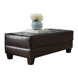 Riverside Furniture - Riverside Furniture Leather Large Cocktail Storage Ottoman in Brown - Riverside Furniture - Ottomans - 103 - Riverside's products are designed and constructed for use in the home and are generally not intended for rental, commercial, institutional or other applications not considered to be household usage.