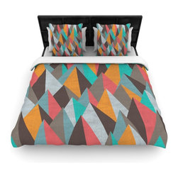 "Kess InHouse - Michelle Drew ""Mountain Peaks I"" Orange Teal Fleece Duvet Cover (Queen, 88"" x 88 - You can curate your bedroom and turn your down comforter, UP! You're about to dream and WAKE in color with this uber stylish focal point of your bedroom with this duvet cover! Crafted at the click of your mouse, this duvet cover is not only personal and inspiring but super soft. Created out of microfiber material that is delectable, our duvets are ultra comfortable and beyond soft. Get up on the right side of the bed, or the left, this duvet cover will look good from every angle."