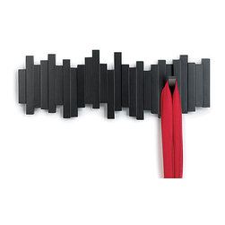 Umbra - Sticks Five Hook Coat Rack - Sculptural and functional, the Sticks wall-mount multi-hook rack from Umbra offers ample storage for coats, bags, accessories and more. Constructed of molded wood with an espresso brown finish, Sticks features five sturdy hooks that flip up when not in use, creating a clean, seamless profile that's great for tight spaces or minimalist decor styles.