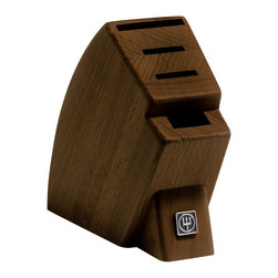 """Wusthof - Wusthof 4-Slot Mobile Knife Block, Walnut - The Wusthof 4 Slot Mobile studio block is compact The rubber base of the block provides stability and prevents scratching to your countertop. Designed for small """"studio"""" size kitchens, taking up a minimal amount of countertop space. The slots can store a pair of kitchen shears and 3 knives. The largest slot can store a cook's or chef's knife up to a 6-inch's, while the other two slots can accommodate smaller knives such as a utility knife."""