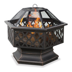 Blue Rhino - Uniflame Hex-Shaped Lattice Fire Pit - Enjoy an outdoor gathering anytime with the warmth of this UniFlame hex-shaped outdoor fire pit. The metal powder-coated frame makes this resistant to Mother Nature's wrath, making it functional for years, and the screen helps contains dangerous sparks.