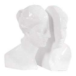 Howard Elliott - Male and Female in Glossy White - set of 2 bookends - This set of book ends feature an abstract face cut in half. Ceramic finished in a bright glossy white.