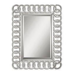 Uttermost - Caddoa Rings Mirror - This is one mirror that you'll always find yourself circling back to. The beveled center piece is framed by interlocking rings that catch the light just right. Use it to make a first impression in your entryway, hang it in the bath or place it in your living room.