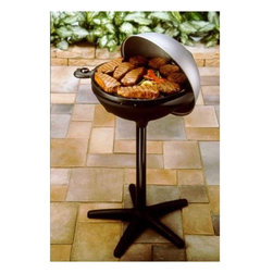 George Foreman - Indoor / Outdoor BBQ with Dome Cover - This is a fantastic grill for anyone living in an apartment and It's also great for smaller households looking for a grill that allows easy clean-up! With over 240 square inches of grilling area, there's plenty of space to grill up enough food for a small get-together and with an adjustable temperature control you can guarantee perfectly cooked food every time. Features: -Easily converts from outdoor to indoor use.-Center channel drains fat into large grease tray.-Non-stick coated cooking surface.-Immersible with probe removed.-MegaDome lid with adjustable steam vent.-Adjustable temperature control.-Cool-touch handles.-Use for indoor and outdoor.-Distressed: No.-Finish: Black.-Powder Coated Finish: No.-Gloss Finish: No.-Material: Metal; Plastic -Material Details: Aluminum..-Number of Items Included: 1.-Product Type: Electric grill.-Water Resistant: No.-Scratch Resistant: Yes.-Heat Resistant: Yes.-Rust Resistant: Yes.-Chip Resistant: Yes.-Tarnish Resistant: Yes.-Stain Resistant: Yes.-Non-Stick Surface : Yes.-Dishwasher Safe: No.-Oven Safe: No.-Freezer Safe: No.-Power Source: Electricity.-Wattage: 1600 W.-Voltage: 120 V.-Indicator Light: No.-Recipes Included: No.-Cord Storage: No.-People Served: 5.-Timer: No.-Tabletop: No.-Warming Tray: No.-Warming Only: No.-Outdoor Use: Yes.-Child Safe: No.-Removable Surface: Yes.-Interchangeable Surface: No.-Sloped Surface: No.-Includes Drip Tray: No.-Includes Scraper: No.-Temperature Control: Yes.-Removable Temperature Probe: No.-Automatic Shut-Off: No.-Cover: Yes -Steam Vent: Yes.-Transparent Cover: No..-Handles: Yes -Number of Handles: 2.-Handle Material: Plastic.-Handle Finish : Black.-Non-Slip Handle: Yes.-Heatproof Handles: Yes.-Cool Touch Handles: Yes..-Swatch Available: No.-Commercial Use: No.Specifications: -1600 watts.Dimensions: -17.5'' Diameter - over 240 square inches of cooking surface.-38'' H x 21.5'' W x 21.5'' D, 27 lbs.-Overall Product Weight: 21 lbs.-Overall 