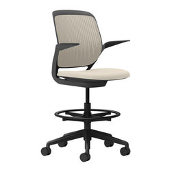 Steelcase - Steelcase Cobi Stool, Black Frame w/Arms & Soft Casters, Malt - If you've ever doubted that comfort fosters creativity, take a seat. This ingenious stool boats automatic, intuitive adjustments and complete support in multiple positions. You'll be raring to go till quitting time and beyond.