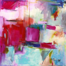 """""""The Next Amusement, Painting"""" - """"Abstract expressionist painting on canvas featuring pinks, magenta and cyan with graphic marks. 20 H x 20 W x 1.5 in"""""""