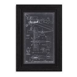 Bassett Mirror - Bassett Mirror Framed Under Glass Art, Aeronautic Blueprint I - Aeronautic Blueprint I