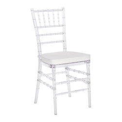 Safavieh - Safavieh Carly Side Chair in Clear, Set of 2 - Whether glamorizing a wedding, anniversary, ballroom or an intimate dinner at home, the elegant Carly Side Chair dresses up your special occasion in style. A 21st century adaptation of the 200-year old Chiavari chair (named after Italian Riviera town of Chiavari where it was first designed), the classic bamboo-patterned frame is molded of sturdy but lightweight PC resin for indoor-outdoor use. Sold in sets of two, each with plush, detachable tie-on cushion and crystal clear frame, Carly is priced to own at less than you'd pay for a one-time party rental. What's included: Side Chair (can only be purchased in sets of 2).