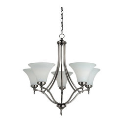 Sea Gull Lighting - Sea Gull Lighting Montreal 31181BLE-965 5-Light Chandelier - 25.75 diam. in. - A - Shop for Chandeliers from Hayneedle.com! Make a design choice you'll be happy with for years to come with the Sea Gull Lighting Montreal 31181-965 5-Light Chandelier - 25.75 diam. in. - Antique Brushed Nickel. The modern color scheme defined by a brushed nickel finish and satin etched glass has a timeless beauty and the Energy Star qualification satisfies the needs of our current era. Shapely lines and delicate finials hint at traditional styles that are always guaranteed to please. This chandelier is 148 inches high overall and is supplied with 12 feet of wire and 10 feet of conveniently pre-laced through chain.About Sea Gull LightingSea Gull Lighting prides itself on being experts in outdoor lighting. They specialize in the latest technology lighting techniques available new products and professional design aspects of creating a well-designed lighting plan. As an example of their industry leadership they are at the forefront of lighting legislation and changing electrical codes leading the industry in ENERGY STAR Lighting Dark Sky Lights California's Title 24 and outdoor lighting technology. In fact Seagull Lighting was named ENERGY STAR's Partner of the Year in 2007. Look for continued innovation and the highest quality lighting from Seagull always.