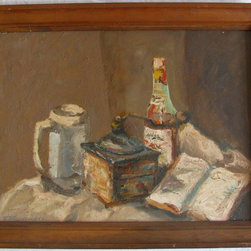 Consigned - Vintage Coffee Mill Oil Painting - Framed oil on canvas still life with coffee mill, bottle, book and stein. Very European in styling and subject.  Impasto paint technique results in vibrant and textural surface.