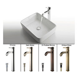 Kraus - Kraus White Rectangular Ceramic Sink and Ramus Faucet Satin Nickel - *Add a touch of elegance to your bathroom with a ceramic sink combo from Kraus