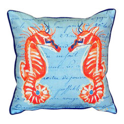 Betsy Drake - Betsy Drake Coral Sea Horses Blue Pillow- Indoor/Outdoor - Coral Sea Horses Blue Pillow- Large indoor/outdoor pillow. These versatile pillows are equal at enhancing your homes seaside decor and adding coastal charm to an outdoor setting arrangment. They feature printed outdoor, fade resistant fabric for years of wear and enjoyment. Solid back, polyfill. Proudly made in the USA.